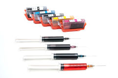 A set of ink for refilling inkjet printers Stock Photos