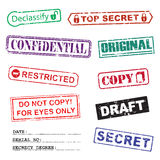 Set of ink stamps for a secret documents. Set of several ink stamps for a secret documents Royalty Free Stock Image