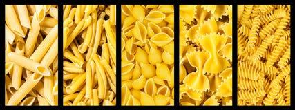Set Inkasowy włoski makaron, tło tekstura Obraz Stock