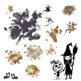 A set of inkblots and blots and painted children in costumes of witches and pumpkins for decoration of promotional and. Greeting materials to Halloween stock illustration