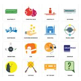 Set of inquiry, set top box, shepherd, live support, order form, municipal, earthquake, hospitality, adaptability icons. Set Of 16 simple  icons such as inquiry Stock Photos