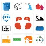 Set of inquiry, shepherd, dab, adaptability, set top box, vr headset, number players, hiker, live support icons. Set Of 13 simple editable icons such as inquiry Stock Image