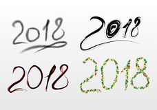 Set of inscriptions 2018 in CDR format. Four beautiful inscriptions for the new year 2018. There is a format JPG, CDR stock illustration