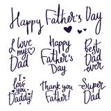 Set inscriptions for Father's Day. Fashionable calligraphy. Royalty Free Stock Images