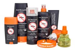 Set of insect repellent products, 3D rendering. Isolated on white background stock photo