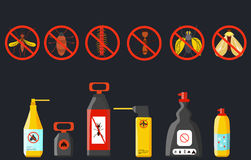 Set insecticides . Spray for mosquitoes , beetles . Vector Stock Image