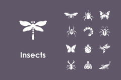 Set of insects simple icons Stock Images