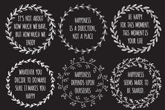 Set of Inspiration hand drawn quotes about Happiness. Doodle wreath around the text. Natural design Royalty Free Stock Photos