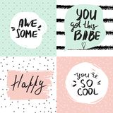 Set of inspirational posters with hand lettered motivational quotes. stock photos