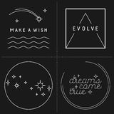 Set of inspirational quote designs. In linear style Royalty Free Stock Photos