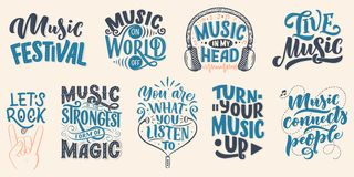 Set with inspirational quotes about music. Hand drawn vintage illustration with lettering. Phrases for print on t-shirts and bags. Stationary or as a poster vector illustration