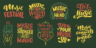 Set with inspirational quotes about music. Hand drawn vintage illustration with lettering. Phrases for print on t-shirts. And bags, stationary or as a poster stock illustration