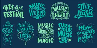 Set with inspirational quotes about music. Hand drawn vintage illustration with lettering. Phrases for print on t-shirts and bags. Stationary or as a poster royalty free illustration