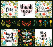Set of inspirational and romantic cards Royalty Free Stock Photo