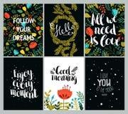 Set of inspirational and romantic cards Stock Photos