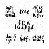 Set of inspirational and romantic hand drawn Stock Photo