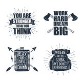 Set of inspirational vector quotes. Set of hand drawn labels with textured arrows, axes, flask, and backpack vector illustrations, and inspirational lettering Stock Photo