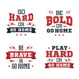Set of inspirational vector quotes. Set of inspirational red and black vector lettering on white background. Sports motivation Royalty Free Stock Images