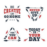 Set of inspirational vector quotes. Set of inspirational red and black vector lettering on white background. Sports motivation Royalty Free Stock Photography