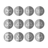 Set of instruction laundry icons, care icons, washing symbols Royalty Free Stock Image