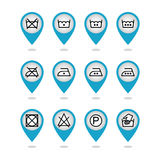 Set of instruction laundry icons, care icons, washing symbols Stock Photo
