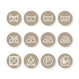 Set of instruction laundry icons, care icons, washing symbols Stock Photography