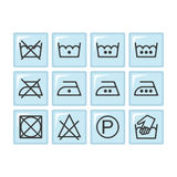 Set of instruction laundry icons, care icons, washing symbols Royalty Free Stock Photos
