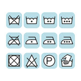 Set of instruction laundry icons, care icons, washing symbols Stock Image