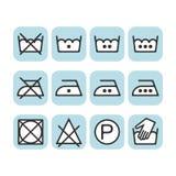 Set of instruction laundry icons, care icons, washing symbols Stock Image