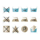 Set of instruction laundry icons, washing symbols Royalty Free Stock Image