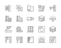 Set of Insulation Line Icons. Insulated Wall, Pvc Window, Glue, Caliper and more royalty free illustration