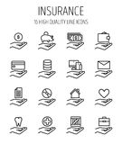 Set of insurance in modern thin line style. Stock Image