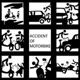 Set of insurance on a motorcycle accident Stock Photography