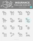 Set of Insurance Vector Line Icons. Includes life, safety, accident, property, travel and more. 50 x 50 Pixel stock illustration