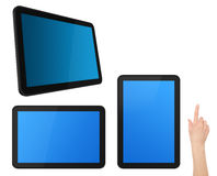 Set of Interactive Touch Screen Tablets with Hand Royalty Free Stock Images