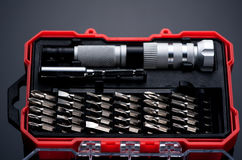 Set interchangeable bits and screwdriver Stock Images