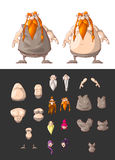 Set of interchangeable dwarf body parts Stock Photos