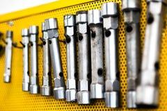 Set of interchangeable sockets in a workshop Stock Image