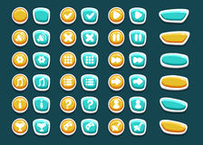 Set with interface buttons with icons. For game. Cartoon style. Vector illustration. EPS 10 Stock Photography