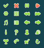 Set with interface buttons with icons. For game. Cartoon style. Vector illustration. EPS 10 Stock Photo
