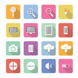 Set of  interface elements icons in flat design. With long shadows Stock Image