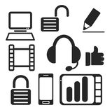Set of interface web and mobile icons. Vector. Royalty Free Stock Photos