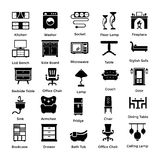 Set of Interior and Decoration Glyph Icons 1. This interior and decoration glyph icon set consists of creative web icons for indoor, outdoor, home, office, cafe Stock Photos