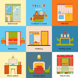 Set of interior design home rooms. Flat design Stock Photos