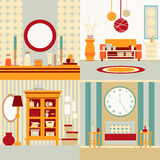 Set of interior design. Made in vector style. Collection of interiors. Illustration of bedroom and living room.Template for business card and banner Stock Images