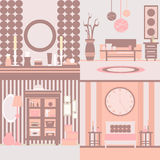 Set of interior design. Made in vector style. Collection of interiors. Illustration of bedroom and living room.Template for business card and banner Stock Photography