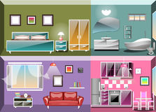 Set of interior design room . Living room, bedroom, kitchen and bathroom Vector illustration stock illustration