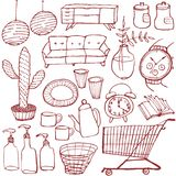 Set of interior goods. hand drawn illustrations. Set of hand drawn interior and general goods royalty free illustration