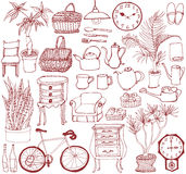 Set of interior goods. hand drawn illustrations. Royalty Free Stock Photos