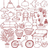 Set of interior goods. hand drawn illustrations. Set of hand drawn interior and general goods vector illustration